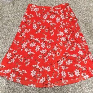 Calvin Klein Red Floral Tropical Midi Skirt 12